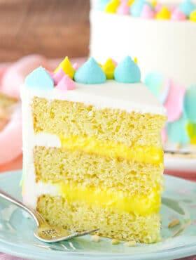 Almond Custard Layer Cake - moist almond cake, creamy almond custard and almond buttercream!