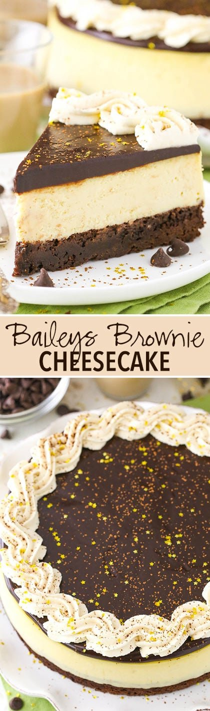 Baileys Brownie Cheesecake - a dense chocolate brownie, creamy Baileys cheesecake and chocolate ganache!