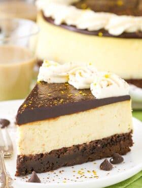 Baileys Brownie Cheesecake slice on plate
