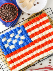 overhead image of Flag Chocolate Chip Cookie Cake