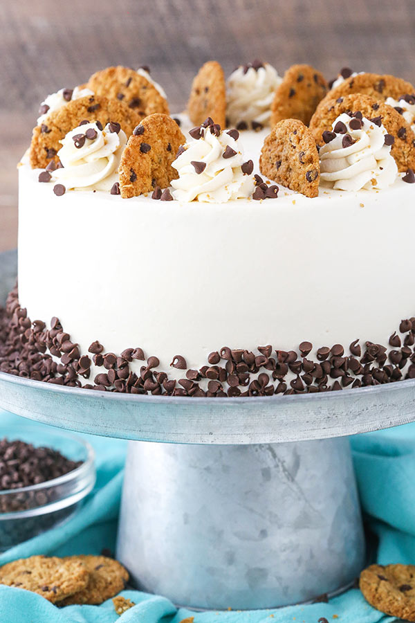 Oatmeal Chocolate Chip Cookie Ice Cream Cake decorated on stand