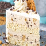 upright slice of Oatmeal Chocolate Chip Cookie Ice Cream Cake