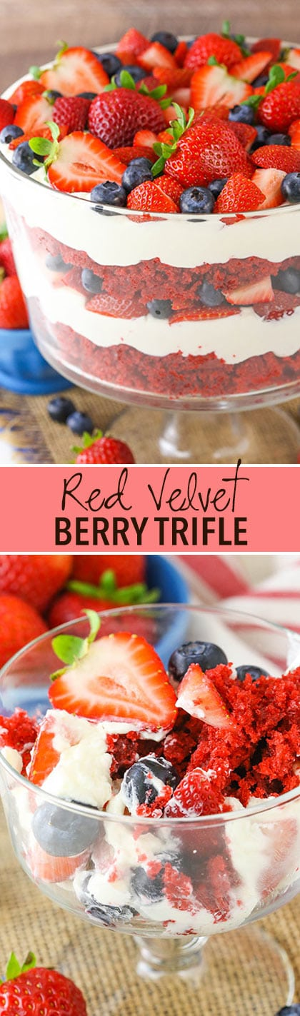 Red Velvet Berry Trifle collage