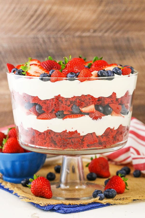 Red Velvet Berry Trifle in bowl