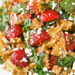 overhead image of Strawberry Feta Balsamic Pasta Salad