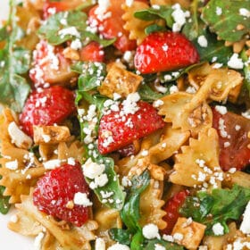overhead image of Strawberry Feta Balsamic Pasta Salad
