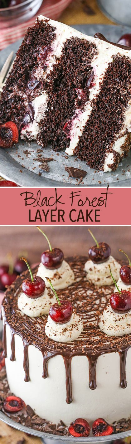 Black Forest Cake - layers of moist chocolate cake, whipped cream, cherries and cherry liqueur! Completely homemade!
