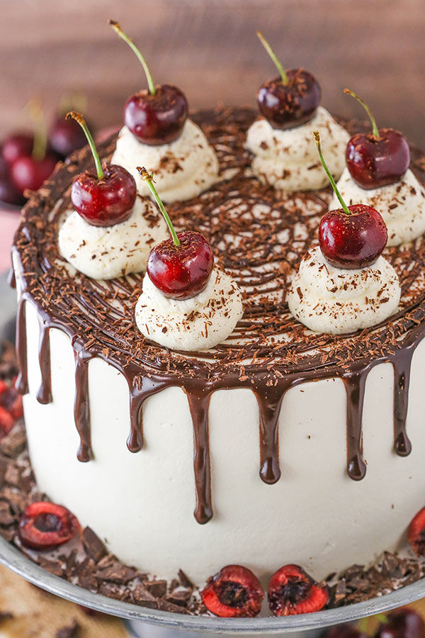 Black Forest Cake - layers of moist chocolate cake, whipped cream, cherries and cherry liqueur! Completely from scratch!