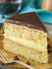 Boston Cream Pie! A classic vanilla cake with pastry cream filling and chocolate ganache!