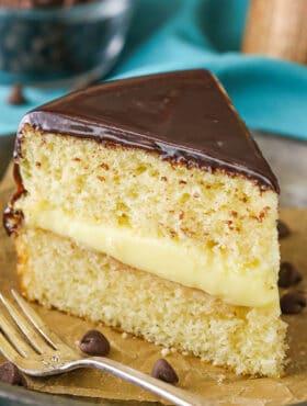 close up image of Boston Cream Pie slice