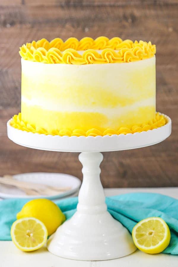 Beautifully decorated Lemon Bavarian Cake