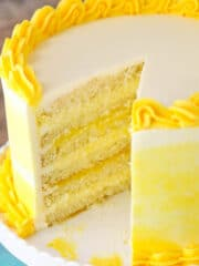 Lemon Bavarian Cake with slice taken out