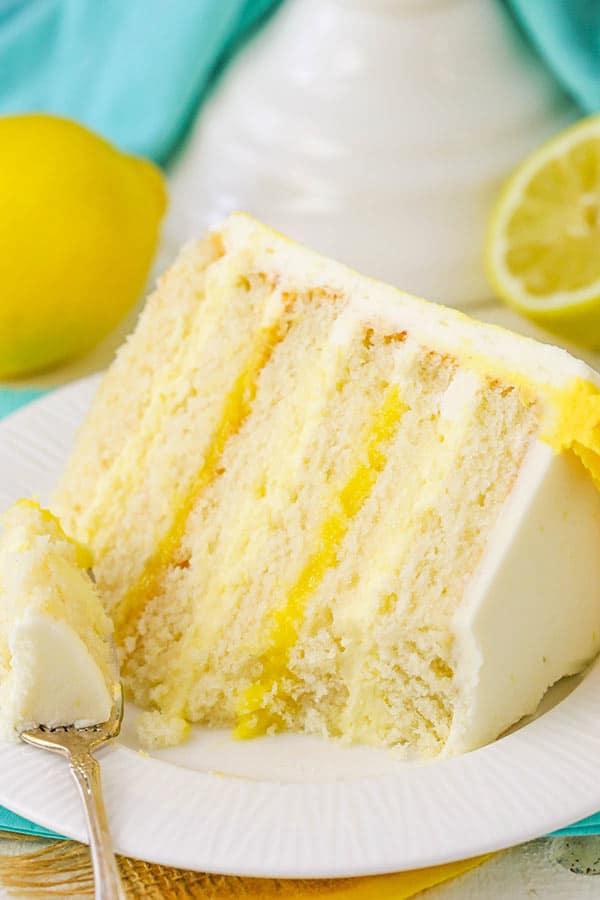bite taken out of Lemon Bavarian Cake slice