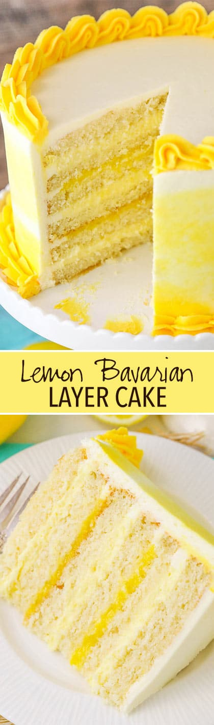 Lemon Bavarian Cake - layers of soft lemon cake, lemon bavarian cream and lemon curd covered in lemon buttercream!