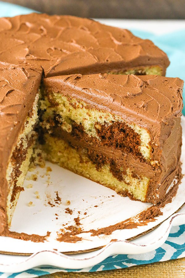 Marble Cake - swirls of chocolate and vanilla cake covered in chocolate frosting!