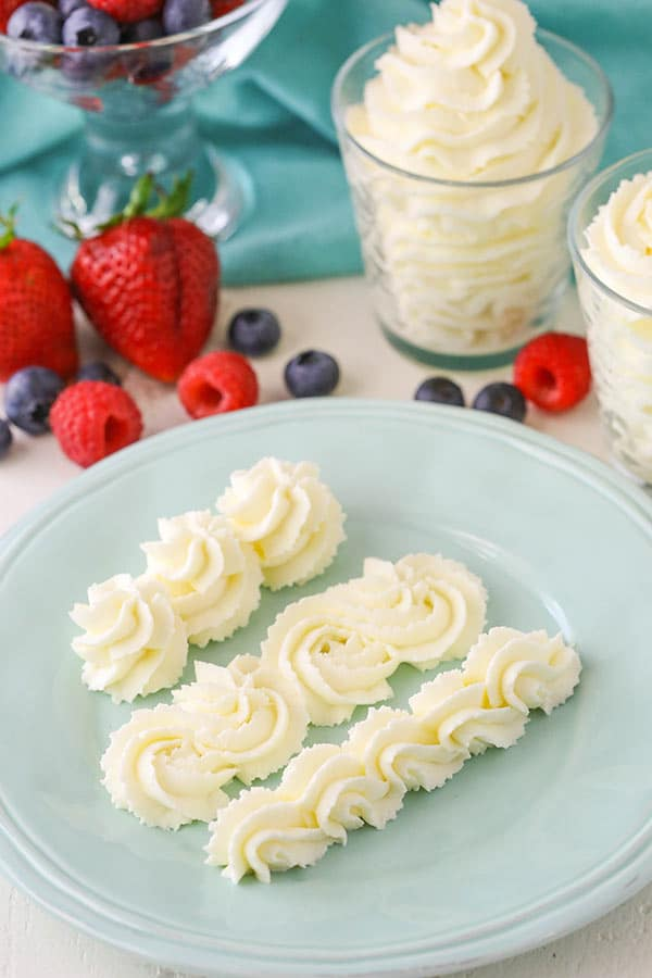 Stabilized Mascarpone Whipped Cream! Perfect for frosting cakes, topping cupcakes or even serving with fruit!