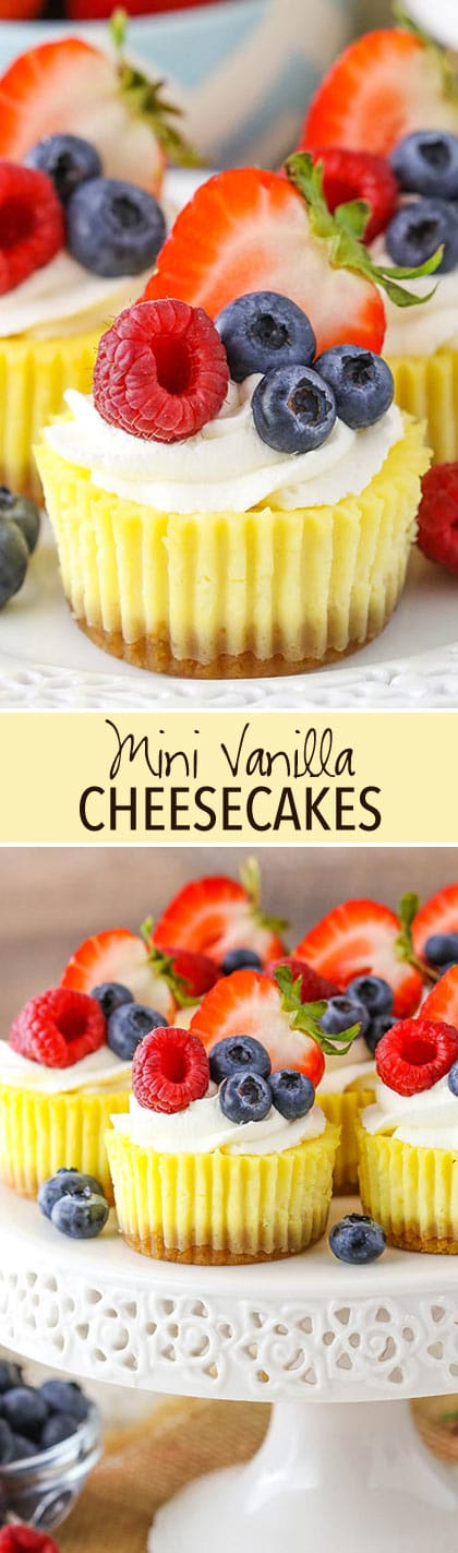 Mini Vanilla Cheesecakes collage - two images