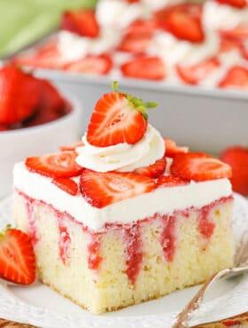 slice of Strawberry Poke Cake
