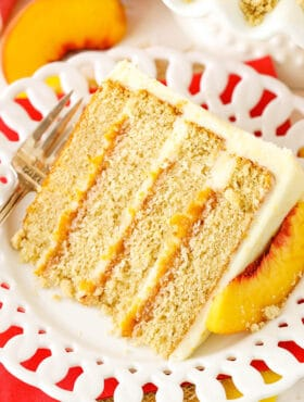slice of Brown Sugar Layer Cake with Peach Filling