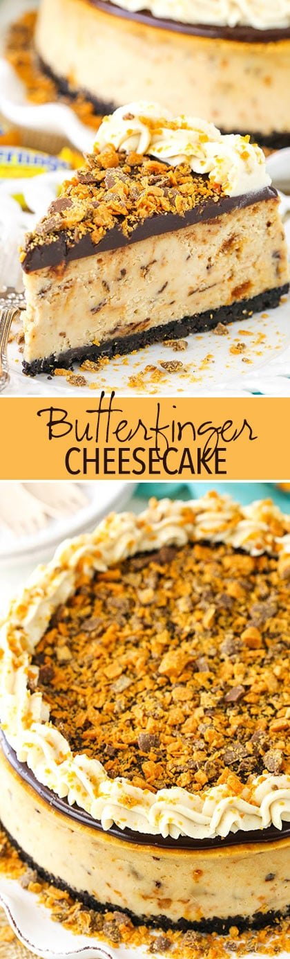 Butterfinger Cheesecake collage of images