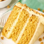 close up of slice of Butterscotch Layer cake