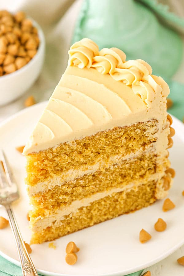 Butterscotch Cake! A moist, from-scratch brown sugar cake topped with butterscotch buttercream made with melted butterscotch chips!