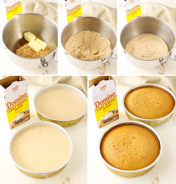 collage of overhead view of preparing cake batter