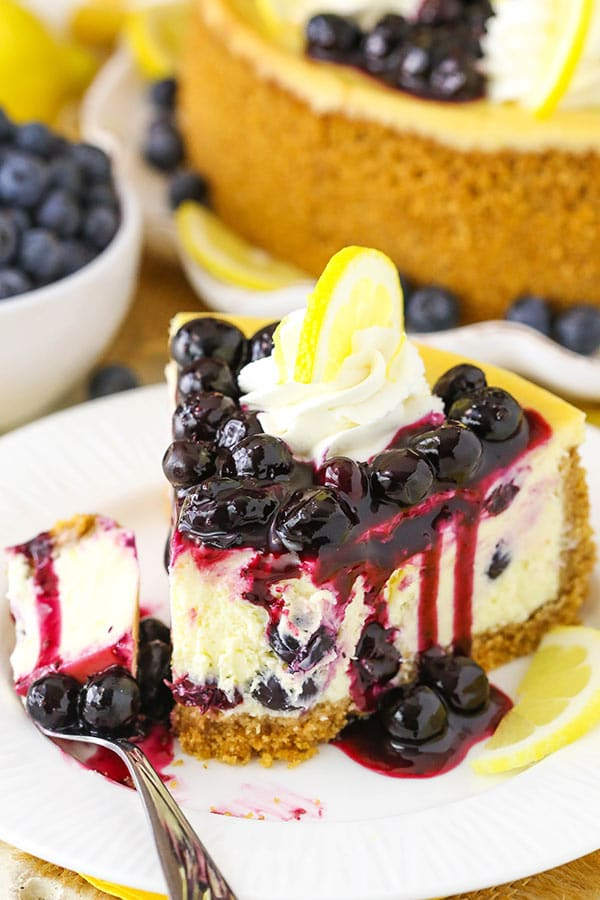 Lemon Blueberry Cheesecake - thick, creamy and full of lemon and blueberry flavor!