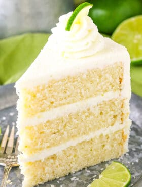 upright slice of Margarita Layer Cake on plate