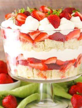 Strawberry Shortcake Trifle in trifle dish