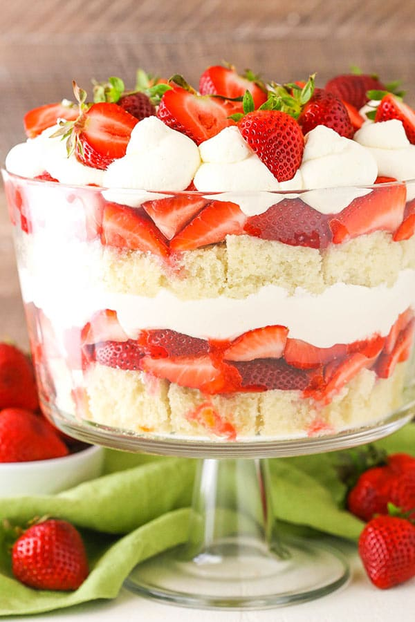 Strawberry Shortcake Trifle in trifle dish