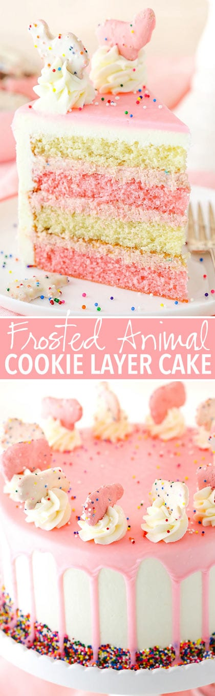 collage Frosted Circus Animal Cookie Layer Cake