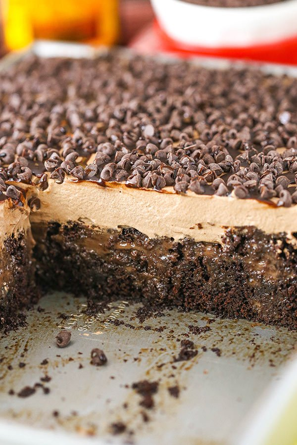 This Kahlua Chocolate Poke Cake is an incredibly rich, moist Kahlua chocolate cake made from-scratch that is soaked in more chocolate and Kahlua!
