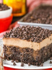 close up of Kahlua Chocolate Poke Cake
