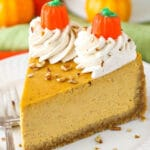 Pumpkin Cheesecake with Cream Cheese Whipped Cream