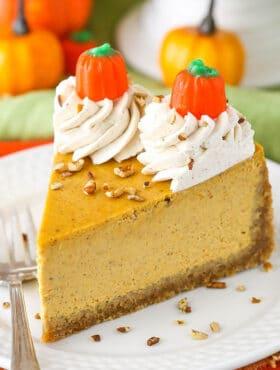 close up image of Pumpkin Cheesecake slice