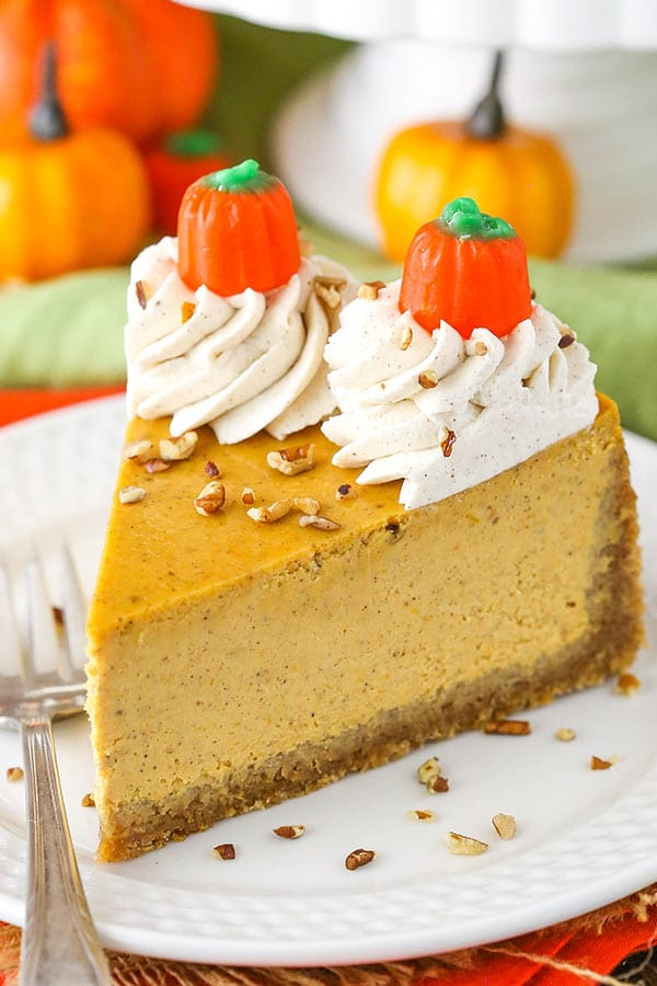 close up image of Pumpkin Cheesecake slice