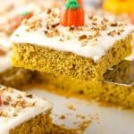 slice of Pumpkin Sheet Cake on spatula