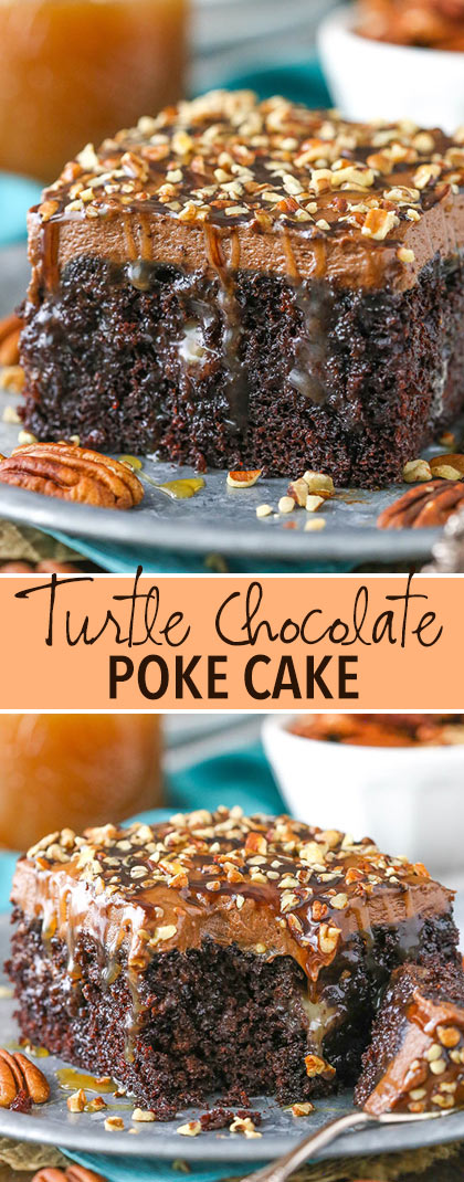 Chocolate Turtle Poke Cake -two images of slices