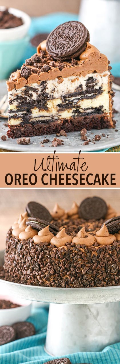 collage of Ultimate Oreo Cheesecake