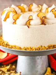 This Cinnamon Apple Layer Cake is incredibly moist, made with fresh apples and has the most amazing apple filling! It's the perfect fall cake!
