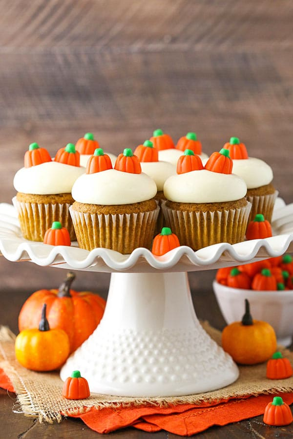 Moist Pumpkin Cupcakes displayed