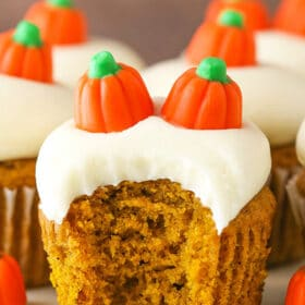 image of Moist Pumpkin Cupcake with bite taken out