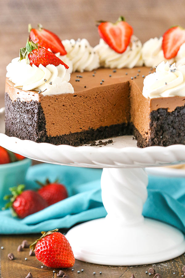 No Bake Chocolate Cheesecake - thick, creamy and made with both melted chocolate and cocoa powder and set in a chocolate Oreo crust!
