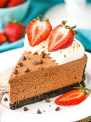 close up image of No Bake Chocolate Cheesecake