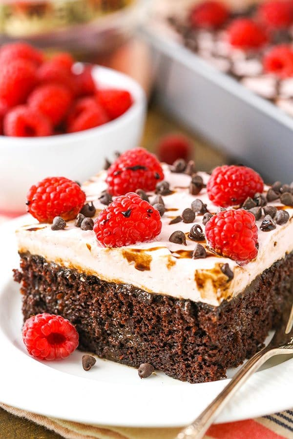 Raspberry Chambord Chocolate Poke Cake