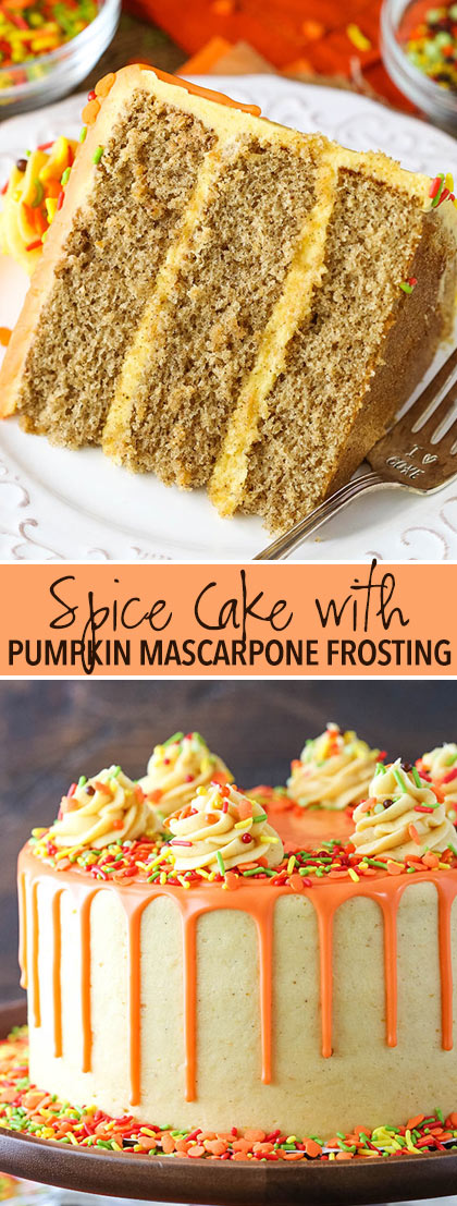 Spice Cake with Pumpkin Mascarpone Buttercream collage