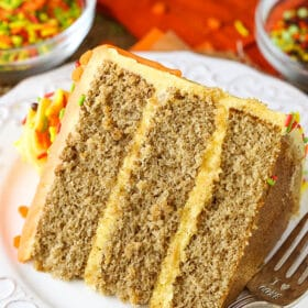 Spice Cake with Pumpkin Mascarpone Buttercream! So moist, delicious and perfect for fall and the holidays!