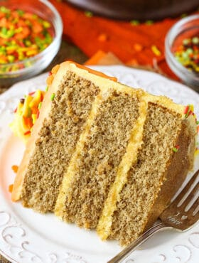 image of Spice Cake with Pumpkin Mascarpone Buttercream on plate