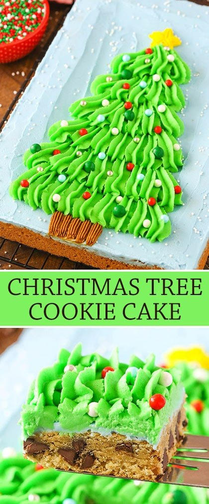 Christmas tree chocolate chip cookie cake collage
